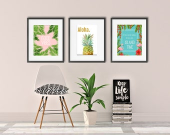 Beach Theme Print Set, Good Vibes Print, Digital Print, Set Of Three, Mothers Day Gift, Digital Wall Art,  Tropical Wall Art, Palm Frond Art