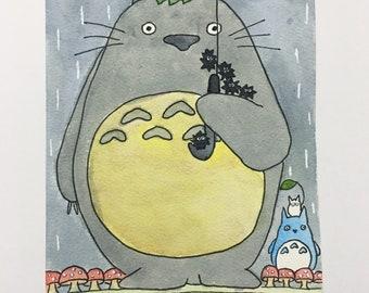 ORIGINAL Totoro Inspired Watercolor Painting - Studio Ghibli - soot sprites - My Neighbor Totoro - Spirited Away