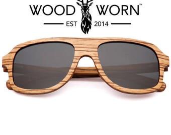 Handmade Wood Worn Brand Wooden Aviator Polarized Sunglasses - Altitude