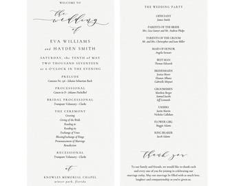 Melia: Printable Wedding Program Template, Calligraphy Wedding Program, Simply Editable PDF, Calligraphy Flat Panel PDF Instant Download