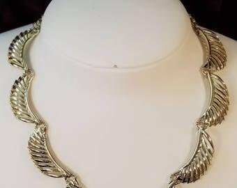 Vintage Necklace Gold Color - Geometric, Feathers, Leaf, Half Leaf