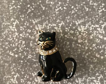 Monet 1970's Black Cat Brooch