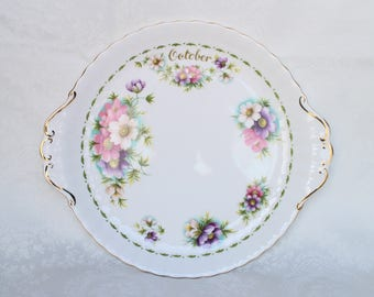 Royal Albert October Cake Plate, Vintage Royal Albert Bone China, Flower of the Month Series Cosmos Cake Plate, Serving Plate England