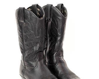 black leather cowboy boots | classic vintage western boots | colorado | riding boots | motorcycle boots | size 40