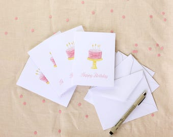 Birthday Card Set, Blank Cards, Greeting Card Set, Watercolor Card Set,  Gift for Mom, Watercolor Cards, Pink Watercolor Blank Birthday Card