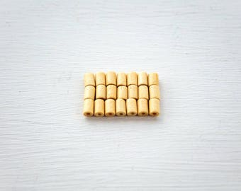 21X WOODEN TUBE BEADS | Reclaimed vintage beads | Tan beige beads | Small tiny beads | Small wood beads | Jewellery making supplies