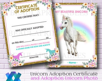 Unicorn adoption etsy unicorn adoption certificate personalize unicorn photo party printables unicorn game unicorn party yadclub Gallery