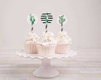 Cactus Cupcake Toppers, Cupcake Toppers, Cactus Party Decorations, Cactus Birthday Decorations, Cactus Cake Toppers, Printable Decorations