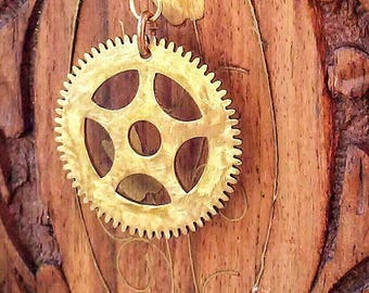 Clock Gear Pendant / Necklace / Textured Brass Gear / Antique Gear Pendant / Steampunk Gear / Authentic Clock Gear Pendant / FREE SHIPPING