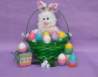 Set of Eight Scented Egg Candles with Eight Decorative Boxes