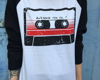Awesome Mix Vol. 1, Guardians of the Galaxy | White/Black Baseball Tee