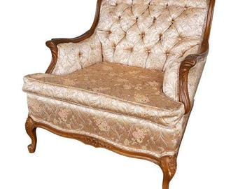 Vintage Hollywood Regency Chair In Blush Pink Brocade   Stunning French  Provincial Armchair In Rose Gold