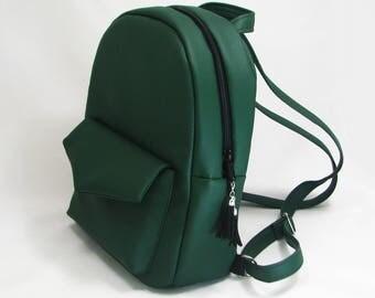 Green eco leather backpack, leather backpack, green school backpack,girls backpack,travel bag,Birthday gift,laptop backpack, rucksack, bag