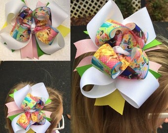 Princess bow, belle bow, disney princess bow, disney bow, princess big bow, birthday bow, toddler bow, princess hair bow, frozen, ariel