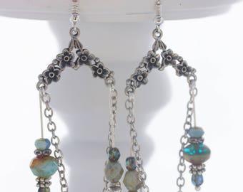 Chandelier earrings; Drop earrings; Mismatch earrings; Silver earrings; Czech bead earrings; Boho earrings; Statement earrings