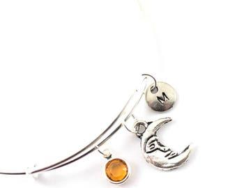 MOON charm bangle, moon charm bracelet, personalized bangle, initial bangle, initial hand stamped, birthstone bracelet, personalized jewelry