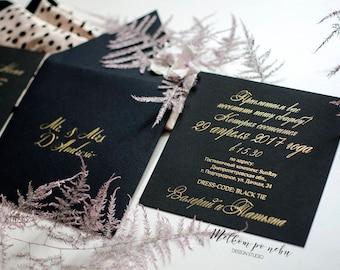 Black & Gold Wedding Invitation Luxury Foil Pressed Stylish Glamorous Chanel Calligraphy