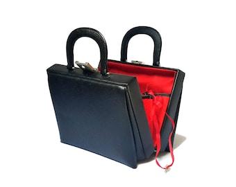 Beauty Case Black Bon Voyage 1970s French Red Travel Case Train Makeup Vanity Jewelry Case Leatherette Key & Lock Hallmark Boulevard Vintage