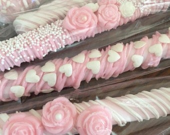 It's A Girl Pink Chocolate Covered Pretzel Rods/Baby Shower/Girl's Shower/Baby Shower Favors/Sweet 16/Girl's Birthday/Bridal Showers