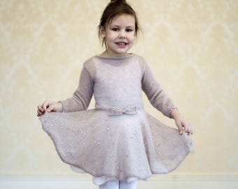 Knit mohair dress for girl, fancy girl dress, knitted dress with beads, elegant occasion dress with hand embroidery, flower girl dress