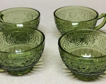 Vintage Indiana Glass Daisy Pattern Green Tea/Coffee Cups Set of 4