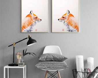 Fox watercolor Nursery wall art Set of 2 art prints Fox Watercolor painting Animal illustration children room kids decor nursery home decor