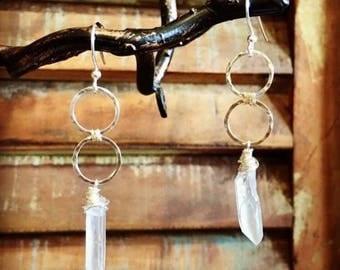 Crystal Quartz Circle Duo Earrings