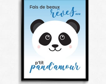 """Poster """"sweet dreams p 'P'tit pand' love""""printed on white cardstock of size 8 """"x 10"""", blue, panda nursery decor for child or baby"""
