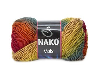 NAKO VALS premium acrylic yarn color choice hand knit yarn nako yarn multicolor yarn winter autumn yarn melange yarn soft yarn