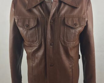 Vintage Sear's The Men's  Store Quality Outerwear Brown Faux Leather Shirt-Jacket with Butterfly Collar/Size Small