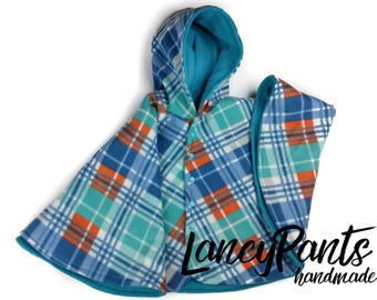 Size 4 fleece car seat poncho - ready to ship - winter kids children's poncho -coat winter jacket - 2T 3T 4T - 2-4 years - blue orange plaid