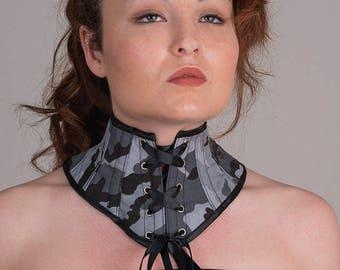 Red black neck corset tartan Sample sale Fetish schoolgirl posture collar Gothic collar Plaids choker Tartan checks collar Punk collar