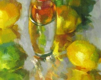 Lemon and Lime Shot - original oil painting, alla prima oil painting, one of a kind
