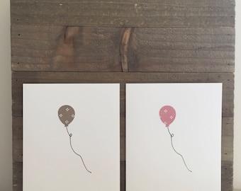 Happy Birthday Card Set / Gray and Pink Dotted Balloon / Birthday Greeting Card / Birthday Invitations