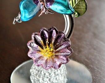 Pretty Glass Butterfly Flower Figurine