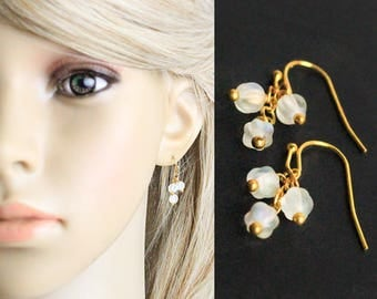 14k gold earrings white jewelry moonstone earrings gold white earrings daughter gift cluster earrings glass earrings dainty jewelry gift K11