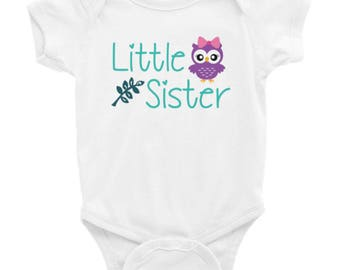 Little Sister Shirt - Sister Owls - Welcome Home Outfit - Girl's Welcome Home Shirt - Sister Bodysuit - Little Sister Bodysuit - Girl Shirt