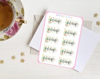 CELEBRATE, Confetti, Champagne - Watercolor Shabby Chic Planner Stickers - Party, Birthday, Celebration Stickers