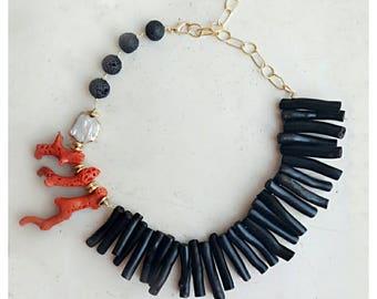 Choker, Boho necklace, summer jewelry, boho jewelry, beaded necklace, gemstone jewelry, lava stone necklace, coral necklace, coral jewelry