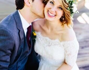 Flower crown wedding, white flower crown, bridal flower crown adult, flower girl crown, flower headpiece
