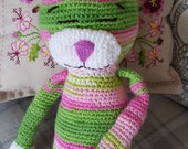 Handmade Crochet Amigurumi Cat in Multicoloured Wool in Tones of Green, Pink and White, Amigurumi Toy, Crochet Cat, Made With Love