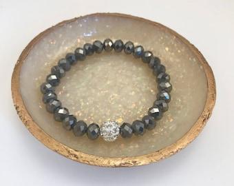 Clear Pave Crystal Round Bead x Dark Shiny Gray Crystal Beaded Bracelet