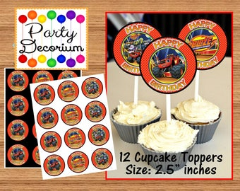 Blaze Cupcake Toppers - Printable Digital File