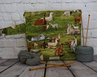 Alpaca/ Llama Project bag, Knitting project bag, Crochet project bag,  Zipper Project Bag, Yarn bowl, Yarn tote