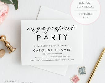 Engagement Party Invitation. Engagement Invite Template. Editable Engagement  Invitation. Engagement Party Invites.  Free Engagement Party Invitation Templates Printable