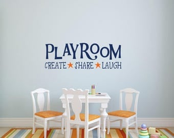 Playroom Wall Decals   Playroom Rules Vinyl Decal Create Share Laugh   Kids  Room Wall Decal