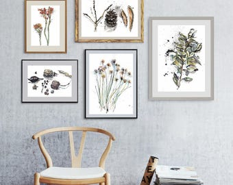 Floral Art Set Of 5 Botanical Watercolors Gallery Wall Living Room