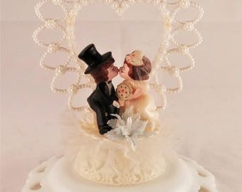 Vintage Bride and Groom Wedding Cake Topper 1950's