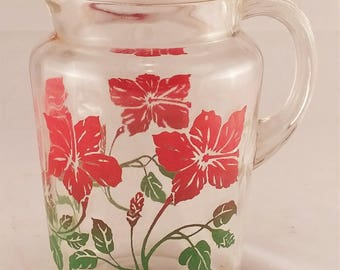 Vintage Retro Pitcher with Red and Green Floral Pattern