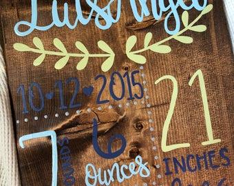 Birth Announcement Wall Art, Birth Announcement Wood Sign, Custom Personalized Baby Decor, Baby Nursery Art, Baby Boy, Baby Girl